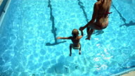 HD Super Slow-Mo: Mother And Daughter Jumping Into The Pool