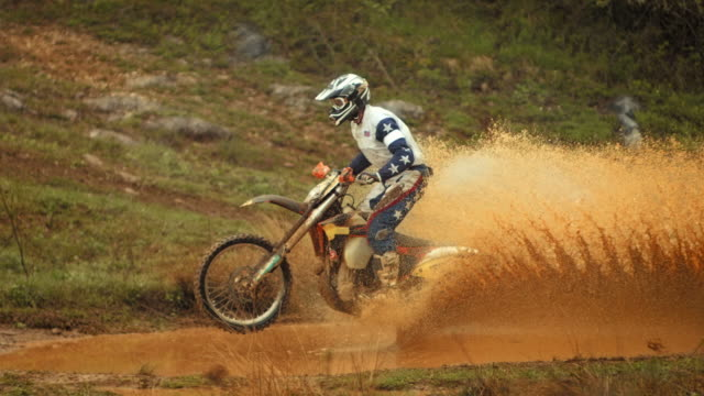 HD Super Slow-Mo: Motocross Rider Speeding Through Mud