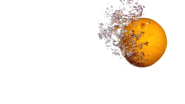 HD Super Slow-Mo: Orange Splashing Into Water