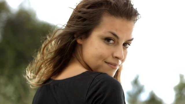 HD Super Slow-Mo: Portrait Of A Beautiful Woman