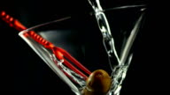 HD Super Slow-Mo: Pouring Martini Into The Glass