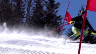 HD Super Slow-Mo: Professional Female Skier Practicing Giant Slalom