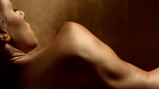 HD Super Slow-Mo: Sensual Woman In Sauna