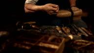 HD Super Slow-Mo: Shoemaker Stitching The Vamp