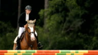 HD Super Slow-Mo: Show Hunter Jumping Square Oxer