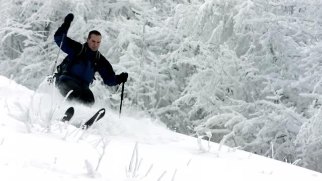 HD Super Slow-Mo: Skiing Through Deep Snow