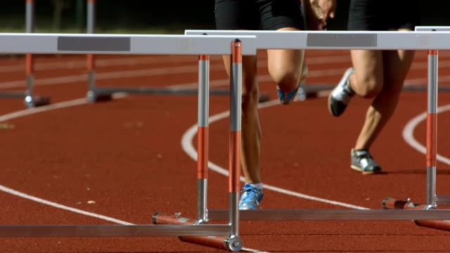 HD Super Slow-Mo: Women Sprinting The Hurdle Race