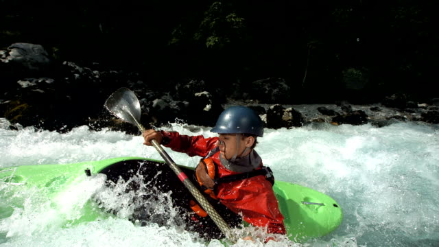 HD Super Slow-Mo: Young Whitewater Kayaker