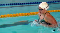 HD Super Slow-Mo: Young Woman Swimming Breaststroke
