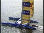 Catamaran along