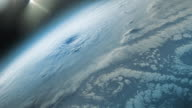 Supercell hurricane or tornado seen from space by satellite