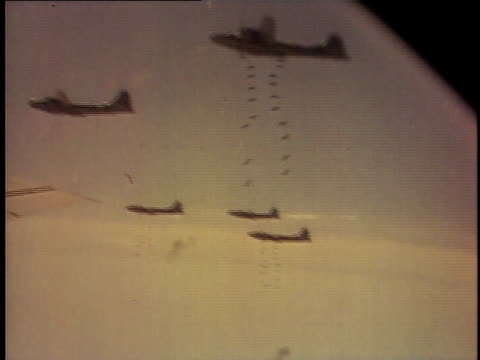 Superfortress bombers dropping their payloads / Japan