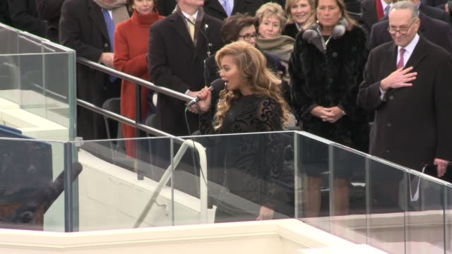 Superstar Beyonce sings the National Anthem at Barack Obama's second Inaugural Beyonce sings at Inauguration at West Front US Capitol on January 21...