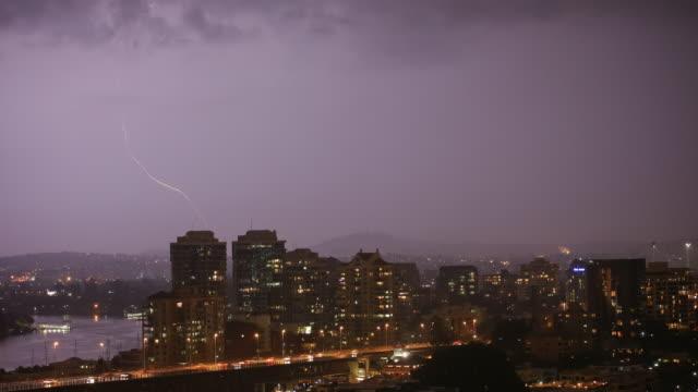 4K Superstorm Timelapse at night with traffic, Brisbane, Australia