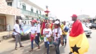Supporter of Ghana and Mali are brighten up streets ahead of the African Cup of Nations 2017 Group D football match between Ghana and Mali in...