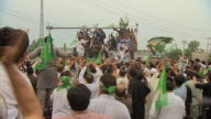 Supporters in Islamabad cheering the news that Shehbaz Sharif will be the new prime minister of Pakistan
