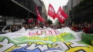 Supporters of Brazil's sacked expresident Dilma Rousseff who demonstrate four days after she was impeached by the Senate along Paulista Avenue in Sao...