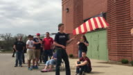 Supporters of Donald Trump stand in line before a Donald Trump Rally at the Indiana State Fairgrounds in Indianaapolis Indiana Trump needs the...