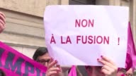Supporters of French rugby club Stade Français protested this morning outside the Ligue Nationale de Rugby headquarters against the planned merger...