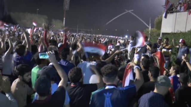 Supporters of Iraqi Shia cleric Muqtada alSadr stage protest at Grand Festivities Square in the Baghdad's heavilyfortified Green Zone which houses...