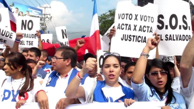 Supporters of Salvadoran presidential candidate Norman Quijano of the National Republican Alliance protested outside the Supreme Electoral Tribunal...
