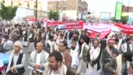 Supporters of the Ensarullah Movement gather at Dairi street to stage a protest against Saudiled operations in Sanaa Yemen on May 8 2015