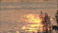 Surface of the water lit by the sunset shinning in orange on the Dokai Bay, Japan