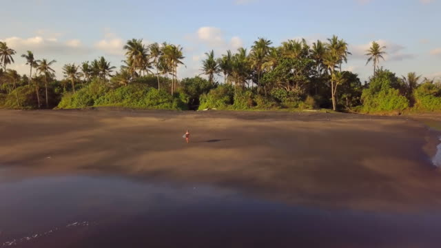 Surfer Girl walking towards the ocean