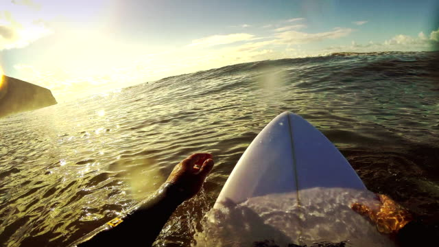 Surfing pov with action camera: on the surfboard