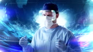 Surgeon working in holographic virtual reality glasses. Medical research