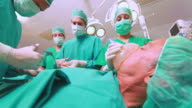 Surgical team looking at a monitor
