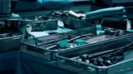 Surgical tray with clean instruments ready for surgery