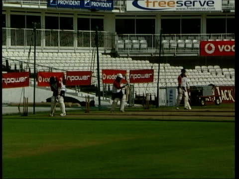 Surrey Oval Cricket ground EXT England cricketers practising in nets BV England cricketers MS England captain Nasser Hussain chatting to BV Alec...