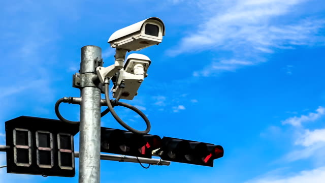 surveillance camera against blue sky