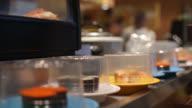 Sushi food on conveyor bar