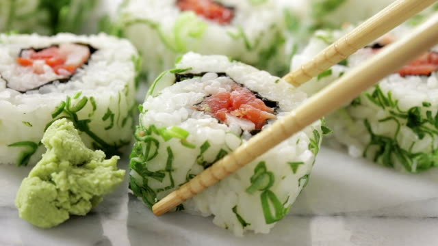 Sushi roll pieces