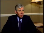 Brighton Foreign Secretary Jack Straw MP sat for television interview CMS Jack Straw MP interview SOT Talks of not negotiating with terrorists London...