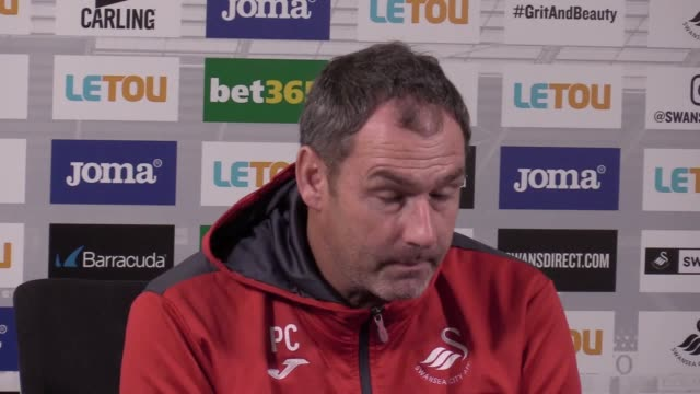 Swansea City head coach Paul Clement gives a prematch press conference ahead of the team's Premier League home game against Huddersfield