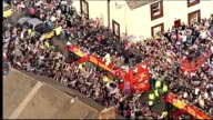 victory parade Further AIR VIEWs / AERIALs of Swansea City opentop bus parade and crowds