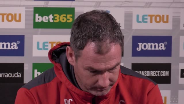 Swansea head coach Paul Clement gives a press conference ahead of the team's Premier League game against Burnley