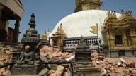 KATHMANDU, NEPAL - MAY 1, 2015: Swayambhunath (monkey temple) stupawhich was severly damaged after the major earthquake
