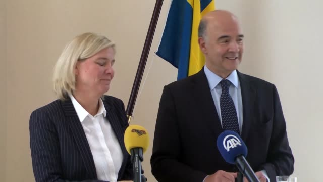 Swedish Finance Minister Magdalena Andersson and European Commissioner for Financial Affairs Pierre Moscovici hold a joint press conference in...