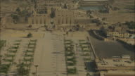 Sweeping aerial over the Karnak Temple complex in Luxor