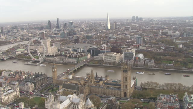 Sweeping aerial shots over the city of London