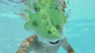 Swimmer in a Frog Costume Swim Underwater