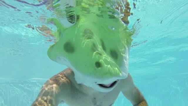 Swimmer in a Frog Costume Swim Underwater