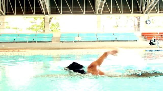 Schwimmer üben freestyle
