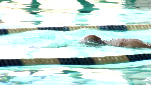 Swimmer swims in a pool