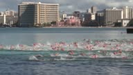 Swimmers charge into water start of open water swimming race Waikiki Hawaii
