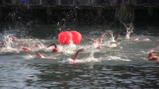 Swimmers from around the world challenge themselves in the annual 30 mile circuit of Manhattan Island Start of race from Battery